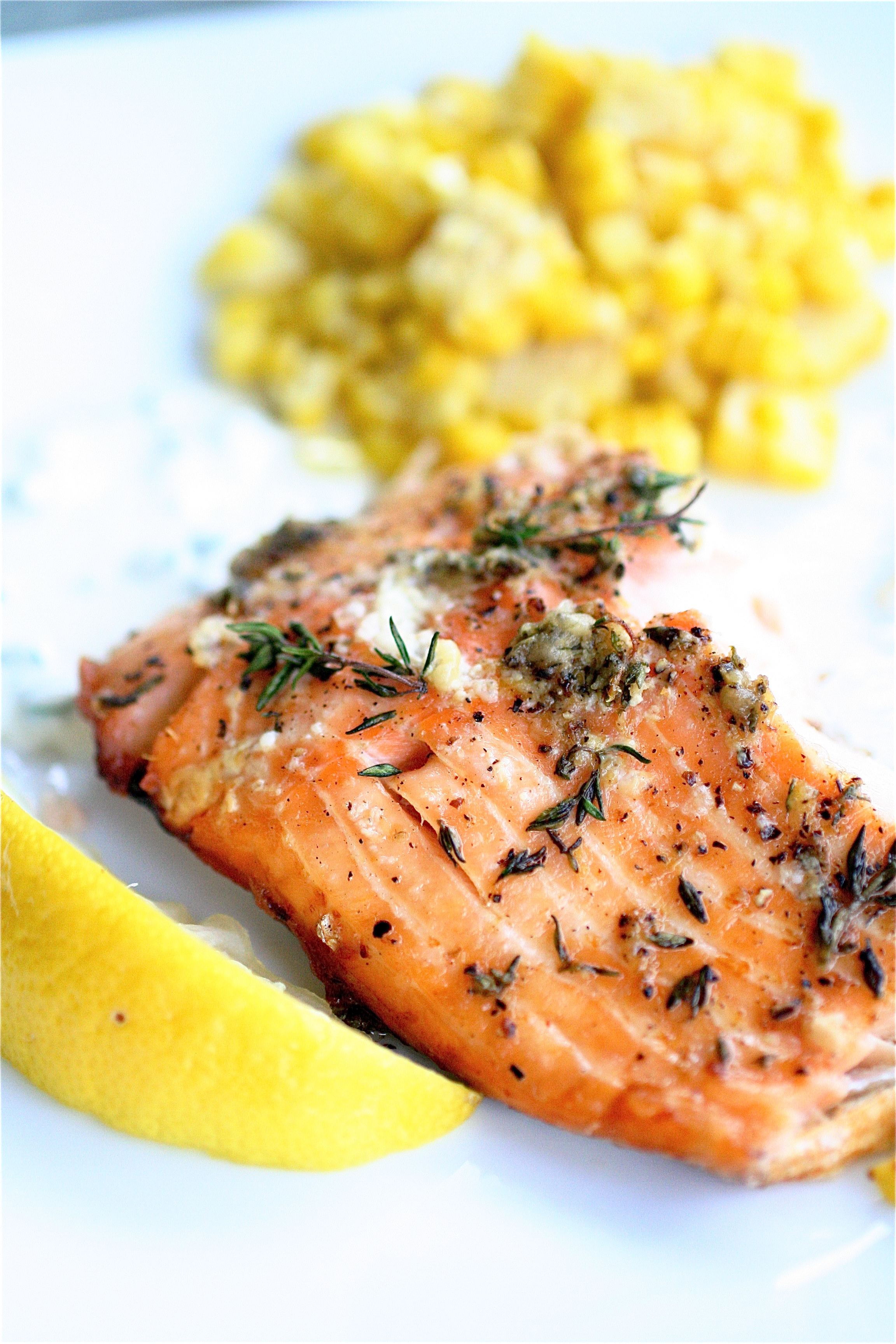 Cedar-Planked Salmon With Horseradish-Chive Sauce | The Curvy Carrot