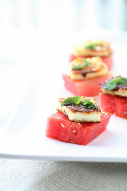 Halloumi And Watermelon Bites With Basil-Mint Oil | The Curvy Carrot
