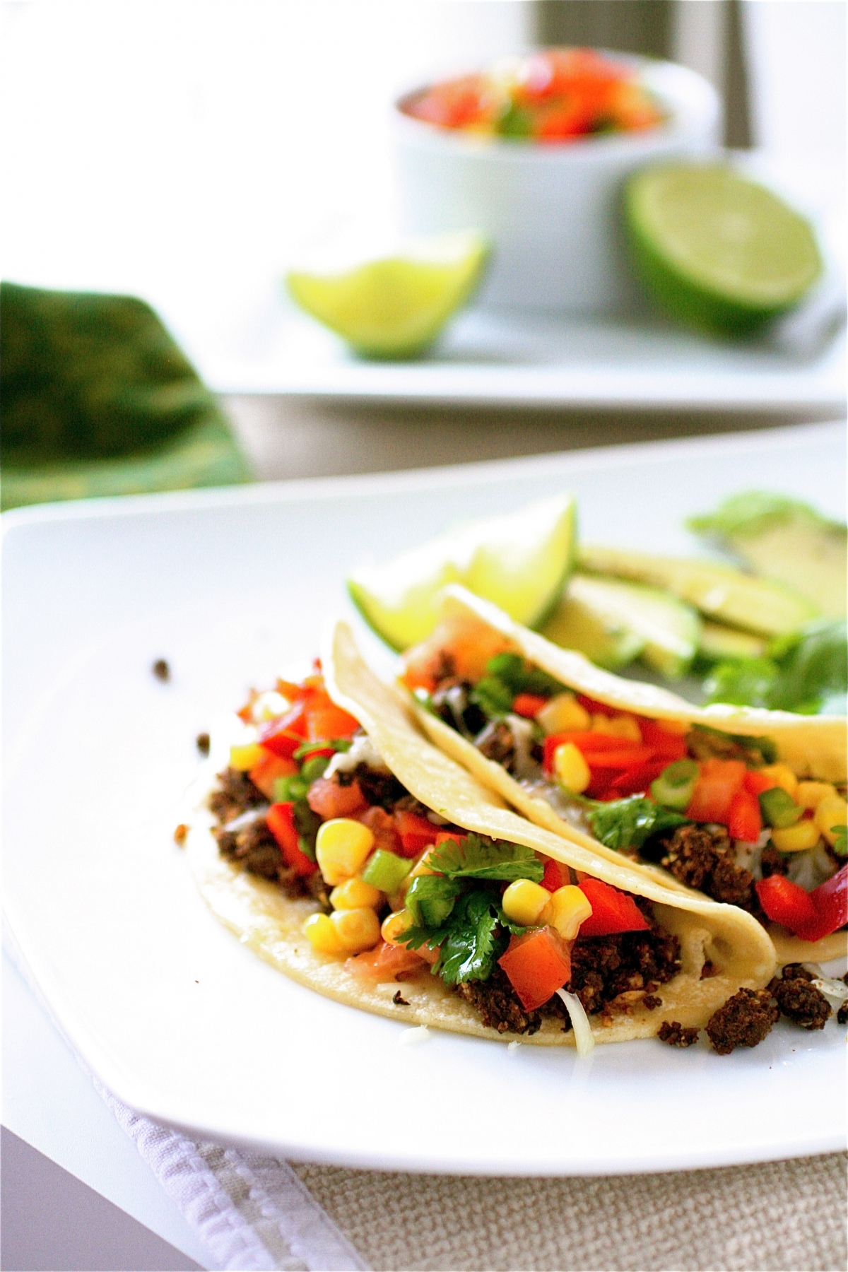 Black Bean Tacos With Red Pepper And Corn Salsa | The Curvy Carrot