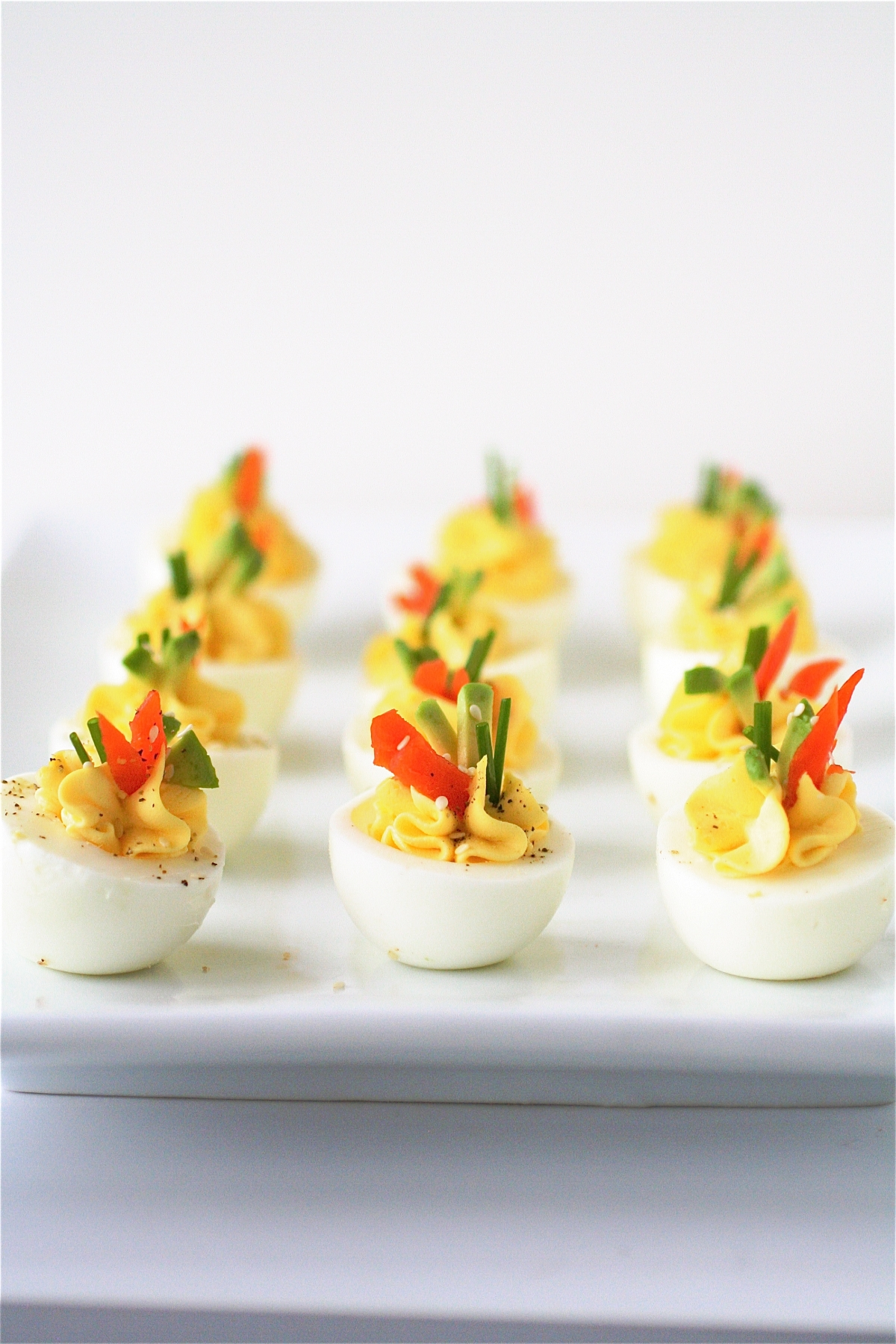 Cream Cheese And Smoked Salmon Deviled Eggs | The Curvy Carrot