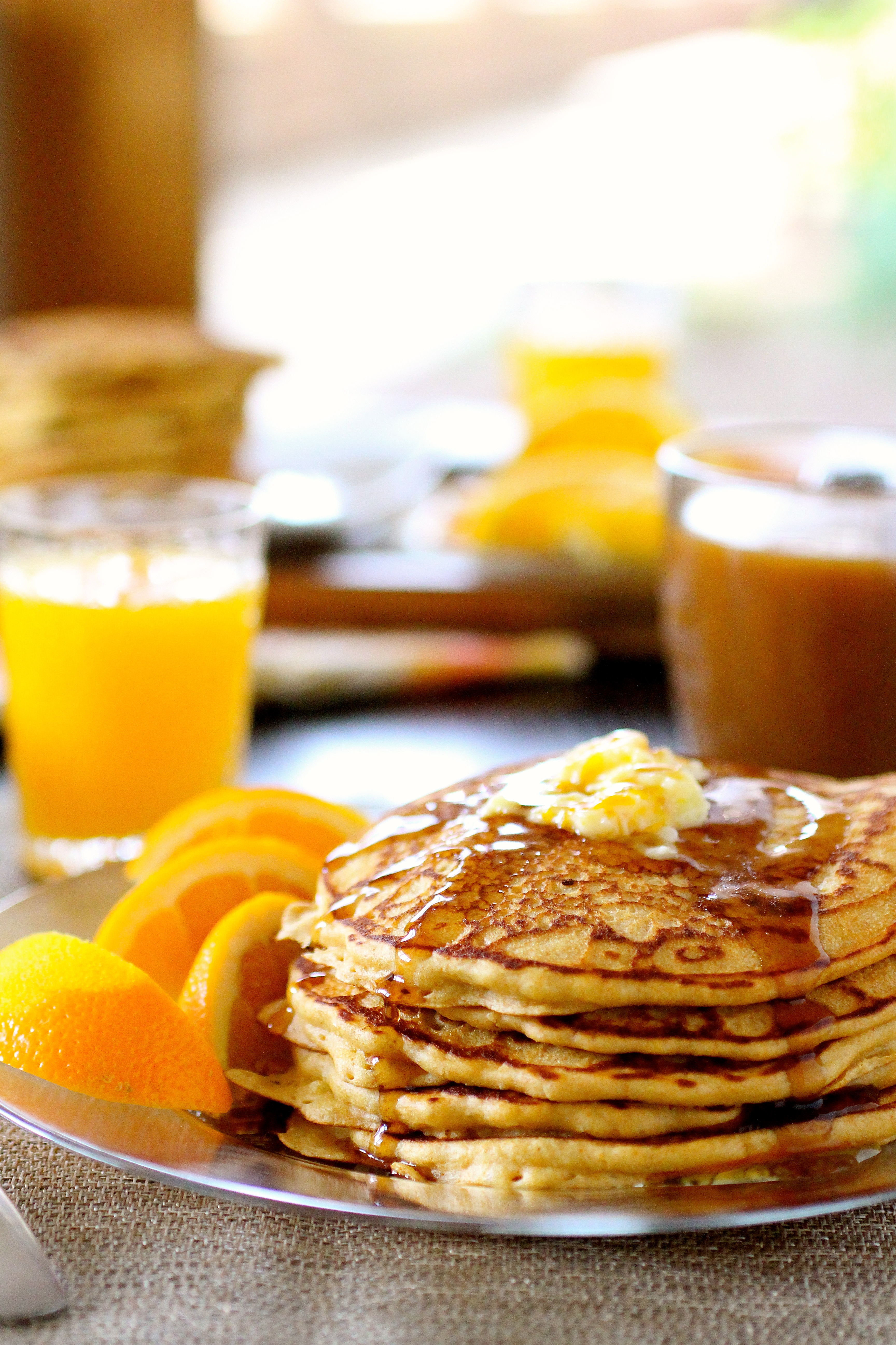 Whole Wheat Buttermilk Orange Pancakes With Orange Butter
