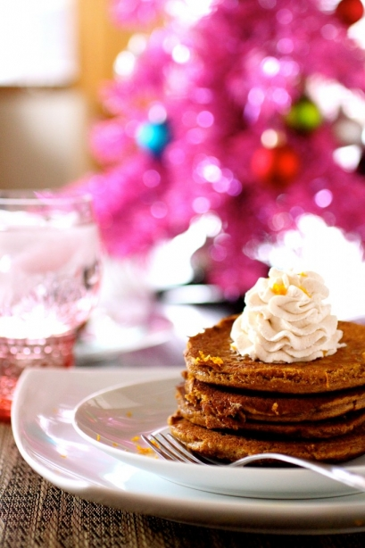 Gingerbread Pancakes With Cinnamon Whipped Cream The