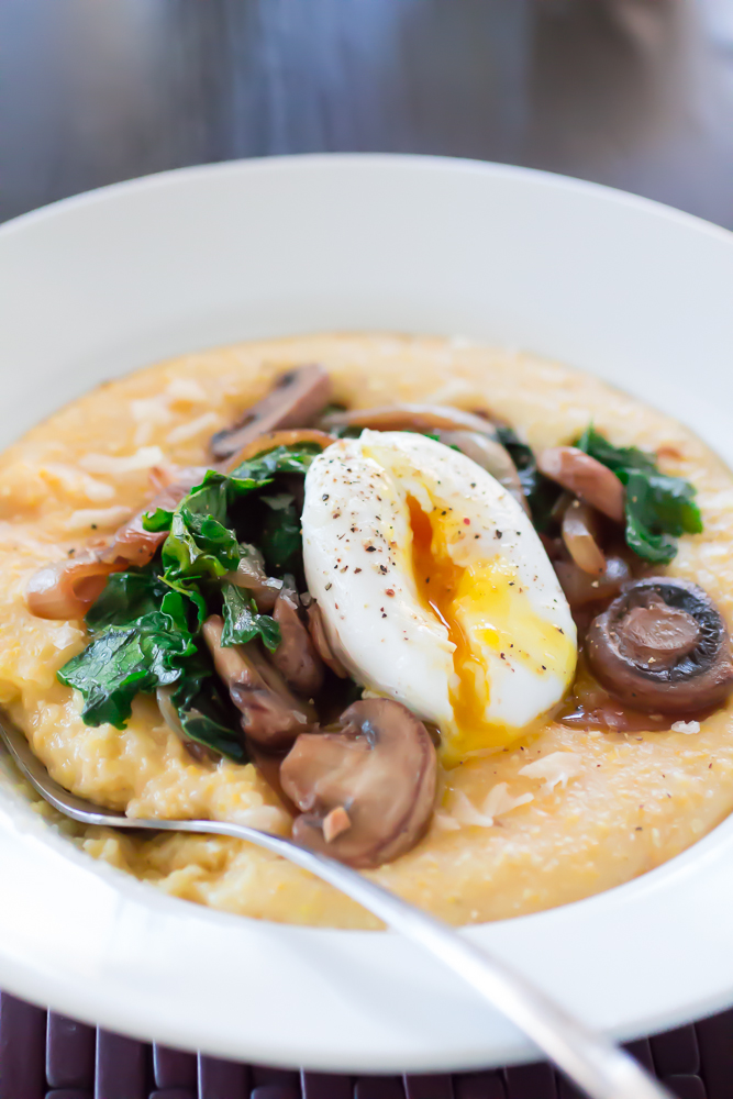 creamy polenta topped with the kale and mushrooms polenta with kale ...